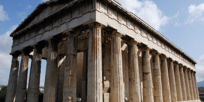 Parthenon, Athenian Acropolis (3/4 perspetive, facade), Athens cityscape. Athens, Greece.